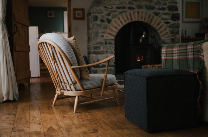 Llwynbwch Barn, living room with fire